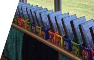 organized book boxes