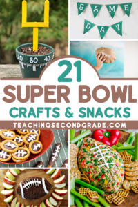 The biggest game of the year is just around the corner, and we've got some great Super Bowl Ideas for football-themed crafts and snacks for all ages. #teachingsecondgrade #superbowl #kidscrafts #kidssnacks #footballtheme   Football Themed Snacks   Football Crafts   Superbowl Ideas   Easy Kids Activities   Super Bowl Ideas for Kids