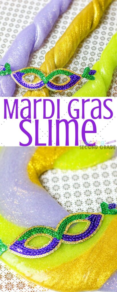Mardi Gras is a great time to learn about history but making slime is a fun way to take it all in!Here is the recipe we use! #mardigras #slime #teachingsecondgrade #kidsactivity #learningthroughplay | Slime Recipes | Mardi Gras Slime | Kids Activities | Learning through Play | Simple Kids Activities | Making Slime