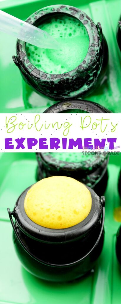 Boiling Pots - A Baking Soda Experiment is great for those who like to have fun in the science department. Gather all the kids around for this one! #teacingsecondgrade #science #stem #bakingsodaexperiment #hallowee #stpatricksday | STEM Ideas | Baking Soda Experiments | Science Experiments for Kids | Halloween STEM | St. Patricks Day STEM | Erupting Cauldrons Science Experiment | Learning Through Play | Learning is Fun |