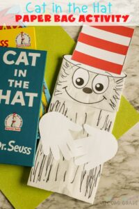This Dr. Suess Paper Bag Puppet is one of the best craft ideas out there. Your kids get to learn about Dr. Suess - all while having fun! #teachingsecondgrade #catinthehat #drseuss #paperbagpuppet #kindergartencraft #firstgradecraft #kidscrafts | Easy Kids Craft | Paper Bag Puppet Ideas | Kindergarten Craft | First Grade Craft | Dr. Seuss Crafts |