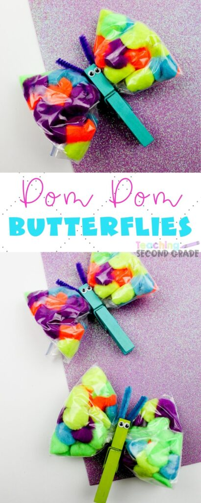 This Pom Pom Butterflies Craft is great when spring hits. Butterflies signal spring and this craft will help bring the warmer weather even faster. #springcraft #teachingsecondgrade #butterlfies #pompomcraft #spring #easycraftsfor kids #clothespincraft | Clothespin Crafts | Easy Crafts for Kids | Spring Crafts | Butterflies Crafts | Pom Pom Crafts | Easy Classroom Crafts