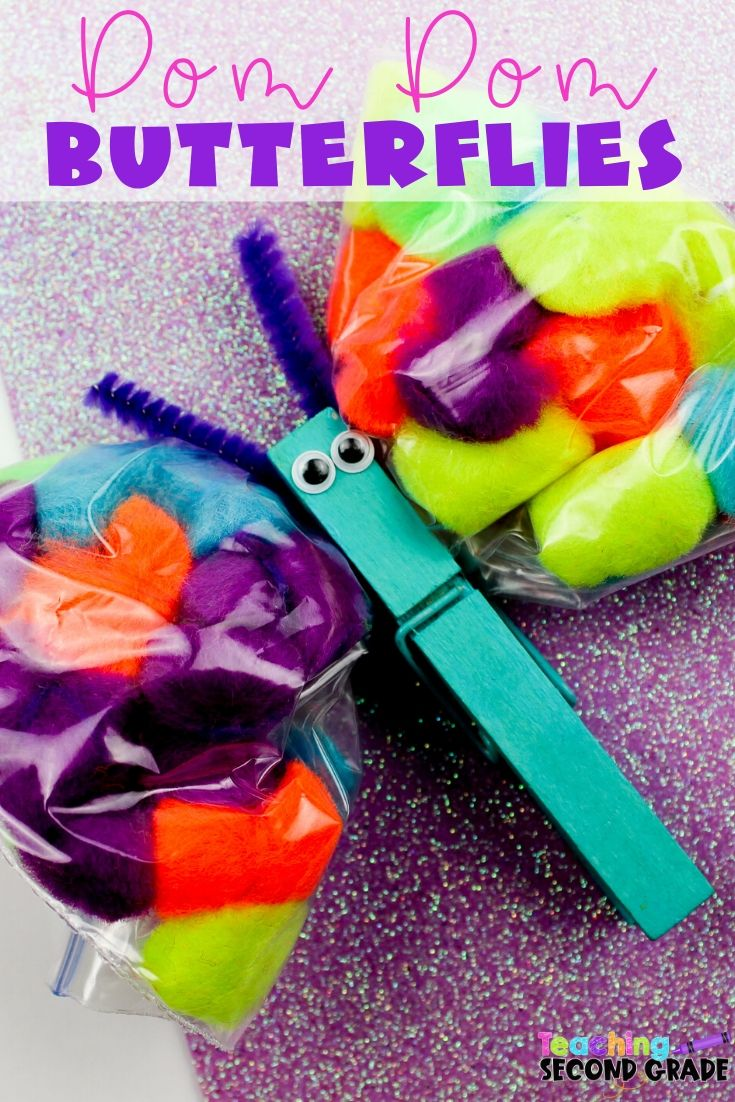 This Pom Pom Butterflies Craft is great when spring hits. Butterflies signal spring and this craft will help bring the warmer weather even faster. #springcraft #teachingsecondgrade #butterlfies #pompomcraft #spring #easycraftsfor kids #clothespincraft   Clothespin Crafts   Easy Crafts for Kids   Spring Crafts   Butterflies Crafts   Pom Pom Crafts   Easy Classroom Crafts