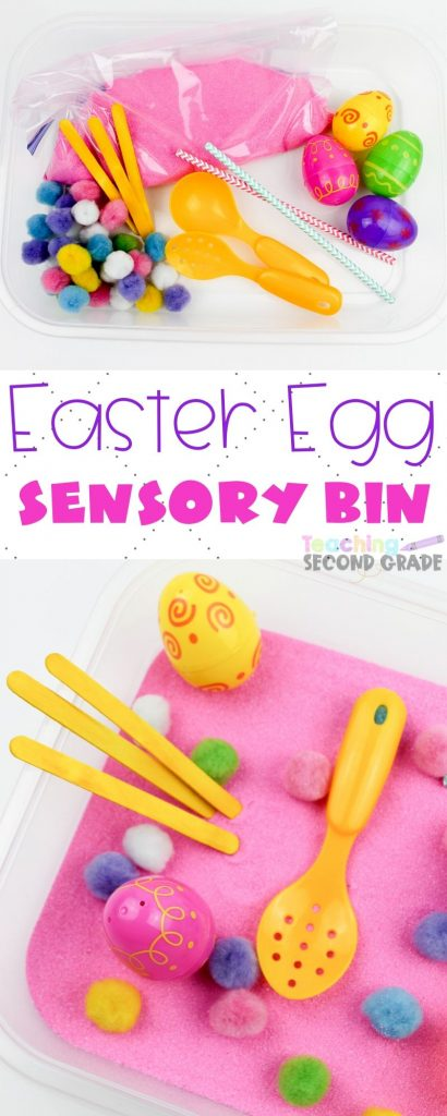 If you need something for the kids to do this Easter Sensory Bin is perfect. Easy set up that provides tons of imaginary and creative play. #teachingsecondgrade #Easter #easteractivities #easyactivitiesforkids #sensoryplay #sensorybinideas | Sensory Bin Ideas | Sensory Play | Easy Activities For Kids | Easter Activities for Kids | Easter Ideas | Easter Sensory Bin