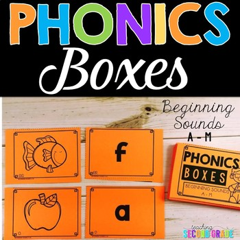 picture of phonics boxes, beginning sounds, A-M
