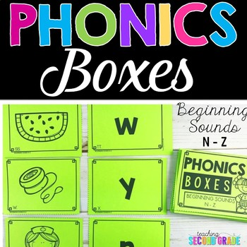 picture of phonics boxes, beginning sounds, N-Z