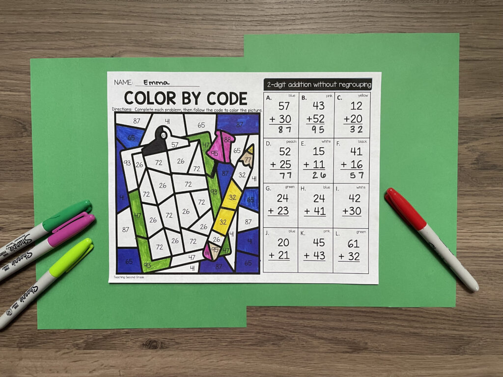 second_grade_color_by_code_math_worksheets