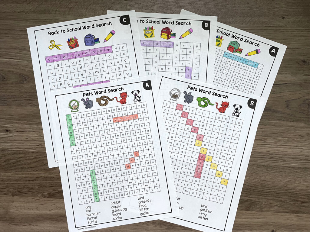 teaching_second_grade_word_searches