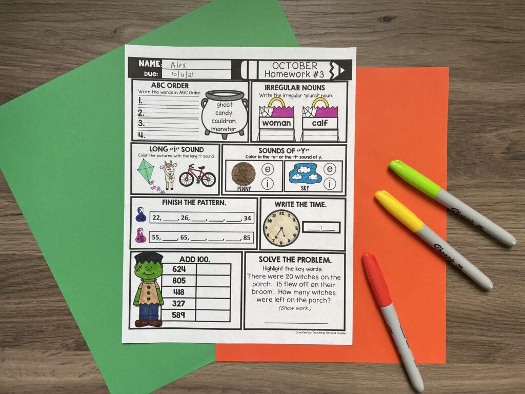 second_grade_october_homework