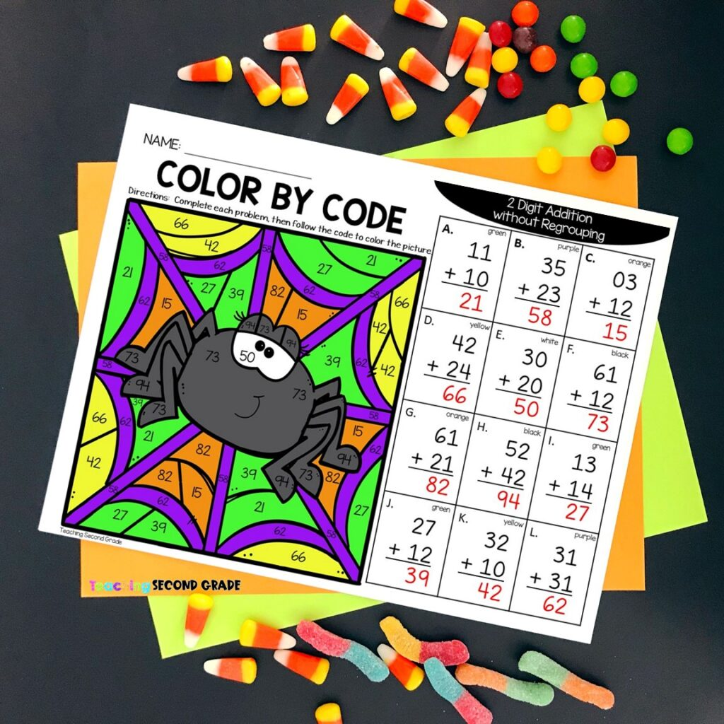 second_grade_halloween_color_by_number